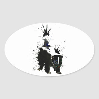 Skunk watercolour painting oval sticker