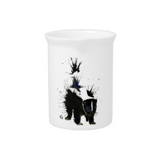 Skunk watercolour painting pitcher