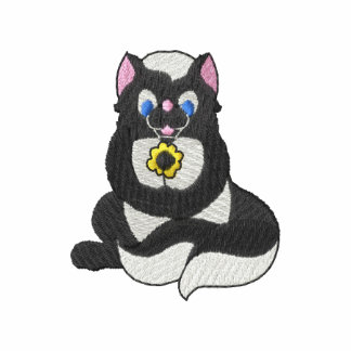Skunk with flower embroidered hoody