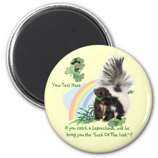 """Skunks, Leprechauns and the """"Luck Of The Irish"""" 6 Cm Round Magnet"""