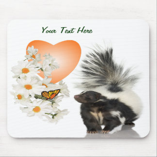 Skunks Need Time To Smell Flowers Too Orange Heart Mousepads