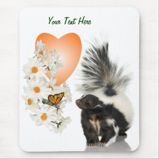 Skunks Need Time To Smell Flowers Too Orange Heart Mouse Pad