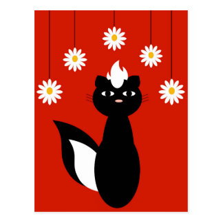Skunky Flowers Postcard