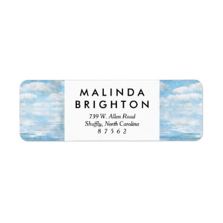 Sky and Ocean Blue White Clouds Watercolor Painted Return Address Label
