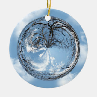 sky  and tree in a bubble christmas tree ornament
