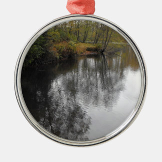 Sky and Water Reflections Silver-Colored Round Decoration