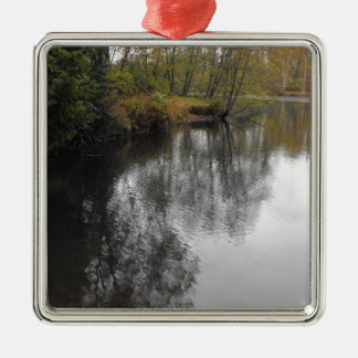 Sky and Water Reflections Silver-Colored Square Decoration
