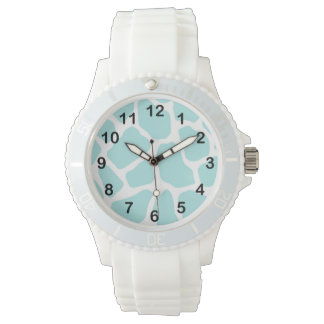Sky and White Giraffe Print Watch