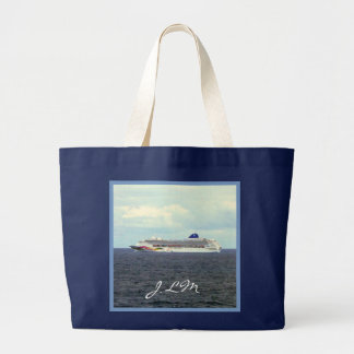 Sky at Sea Monogrammed Cruising Large Tote Bag
