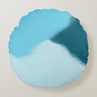 Sky Blue Abstract Round Cushion