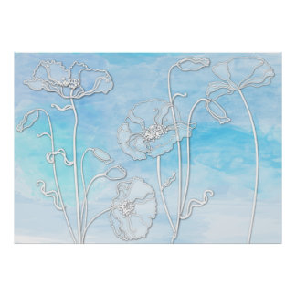Sky Blue Abstract Watercolor and Poppies 3 Poster