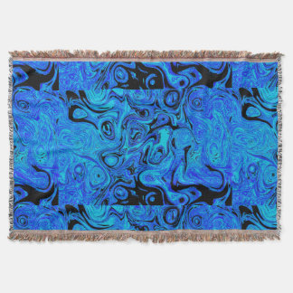 Sky Blue and Black Fire Stone Throw Blanket