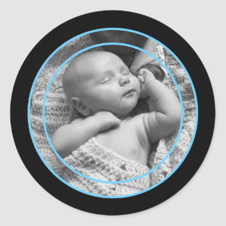 Sky Blue and Black Photo Frame Classic Round Sticker