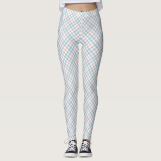 Sky Blue and Pink Plaid Leggings
