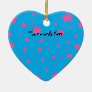Sky blue and pink stars ceramic heart decoration