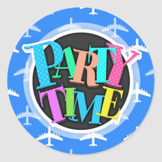 Sky Blue and White Airplane; Plane Round Stickers