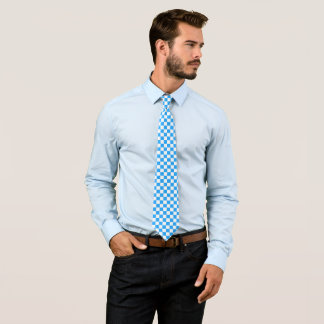 Sky Blue and White Checkerboard Pattern Tie