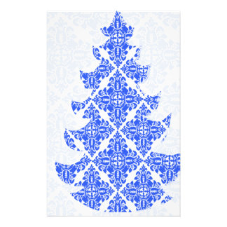 Sky Blue AND White Damask Pattern Christmas Tree 14 Cm X 21.5 Cm Flyer
