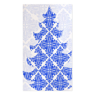 Sky Blue AND White Damask Pattern Christmas Tree Business Cards