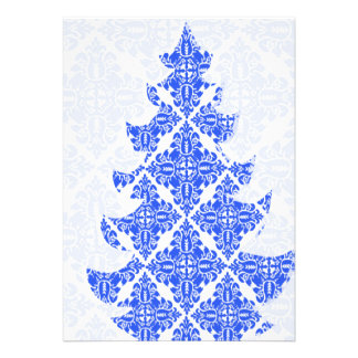 Sky Blue AND White Damask Pattern Christmas Tree Personalized Invite