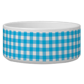 Sky Blue and White Gingham Dog Food Bowls