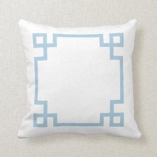 Sky Blue and White Greek Key Throw Cushions