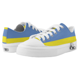 Sky Blue and Yellow Two-Tone Lo-Top Printed Shoes