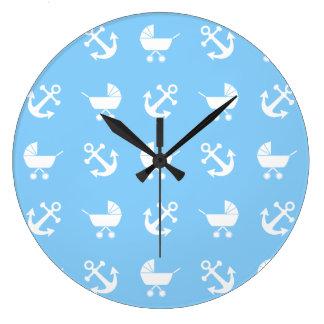 Sky blue baby boy nautical pattern large clock