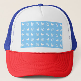 Sky blue baby boy nautical pattern trucker hat