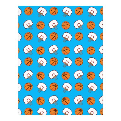 Sky blue basketballs and nets pattern custom flyer