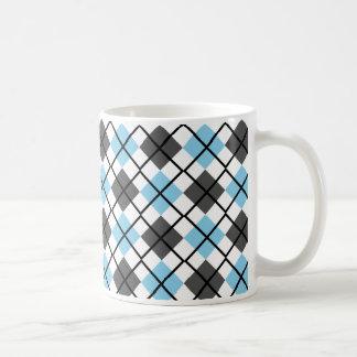 Sky Blue, Black, Grey on White Argyle Print Mug