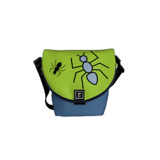 Sky Blue & Black Vector Ants (Green Background) Courier Bag