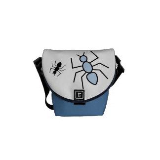 Sky Blue Black Vector Ants Messenger Bag