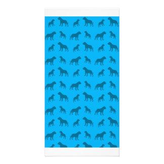 Sky blue bulldog pattern personalized photo card