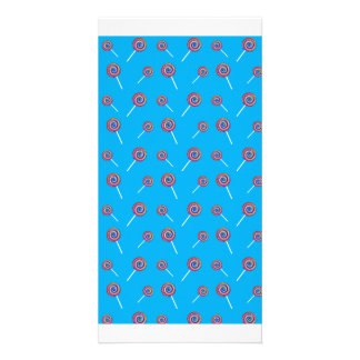 sky blue candy pattern photo greeting card
