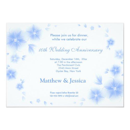 Sky Blue Cherry Blossom Anniversary Card