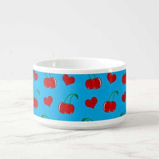 Sky blue cherry hearts chili bowl