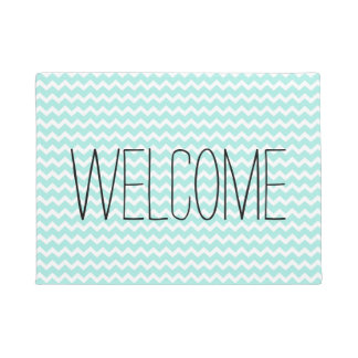 Sky Blue Chevron Modern Welcome Doormat