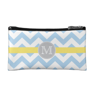 Sky Blue Chevron Pattern & Lemon Stripe Monogram Cosmetic Bag