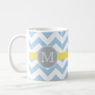 Sky Blue Chevron with Lemon Stripe and Initial Mug