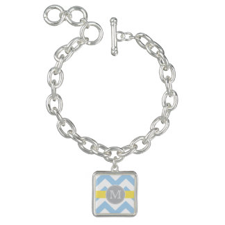 Sky Blue Chevron with Lemon Stripe Monogram