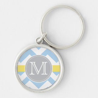 Sky Blue Chevron with Lemon Stripe Monogram Gift Key Ring