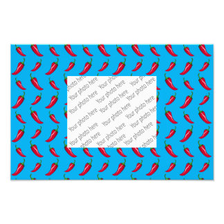 sky blue chili peppers pattern photographic print