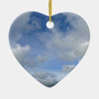 sky. Blue cloudy sky Ceramic Heart Decoration
