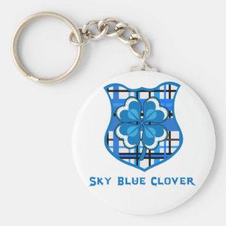 Sky blue clover basic round button key ring