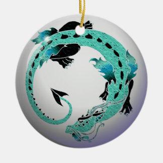 Sky Blue Coiled Dragon Ceramic Ornament