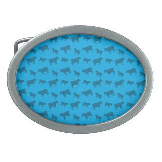 Sky blue cow pattern oval belt buckles