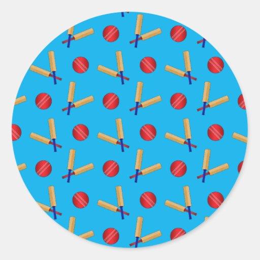 Sky blue cricket pattern round sticker