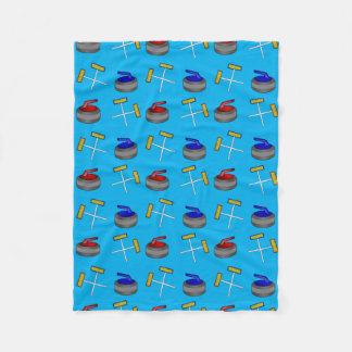 sky blue curling pattern fleece blanket