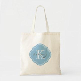 Sky Blue Custom Personalized Monogram Budget Tote Bag
